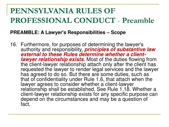 PENNSYLVANIA RULES OF PROFESSIONAL CONDUCT