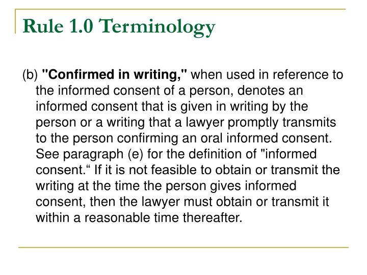 Rule 1.0 Terminology
