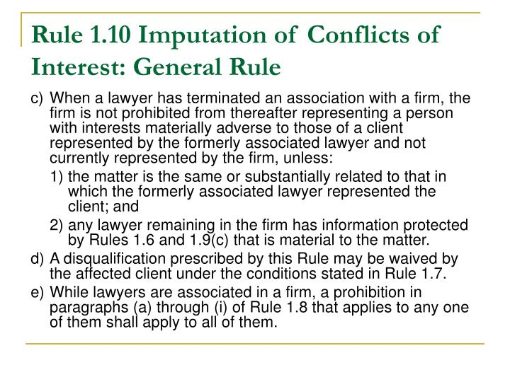Rule 1.10 Imputation of Conflicts of Interest: General Rule