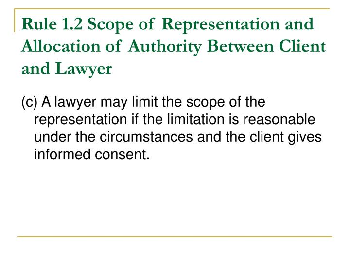 Rule 1.2 Scope of Representation and Allocation of Authority Between Client and Lawyer