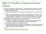 rule 1 7 conflict of interest current clients