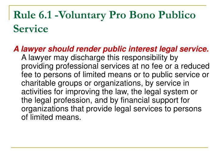 Rule 6.1 -Voluntary Pro Bono Publico Service