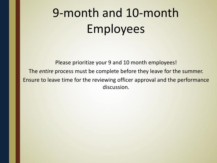 9-month and 10-month Employees