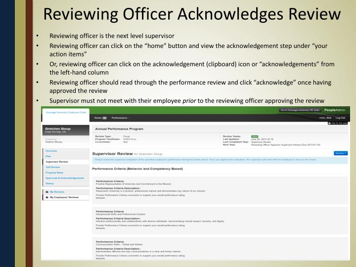 Reviewing Officer Acknowledges