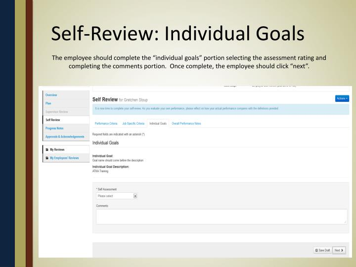 Self-Review: Individual Goals