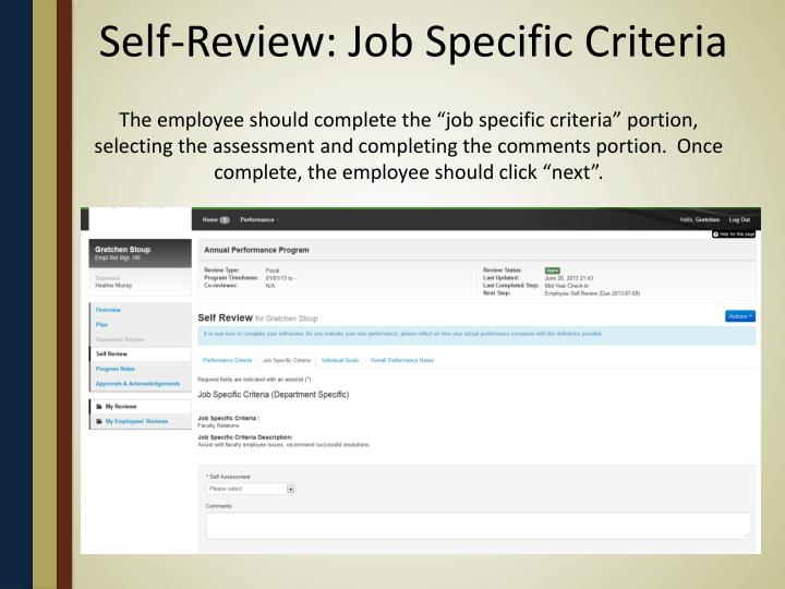 Self-Review: Job Specific Criteria