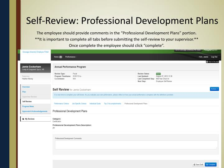 Self-Review: Professional Development Plans
