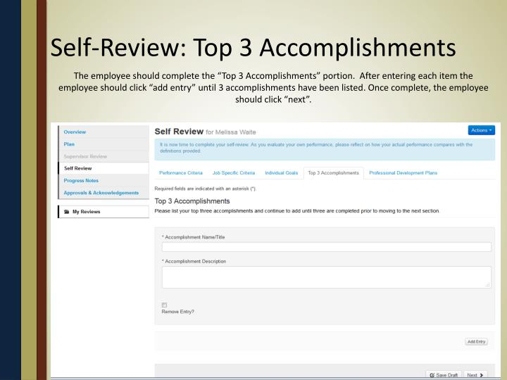 Self-Review: Top 3 Accomplishments