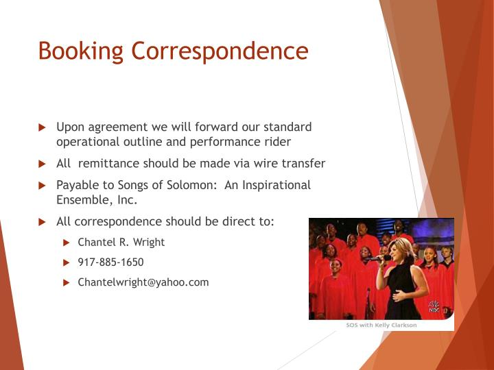Booking Correspondence