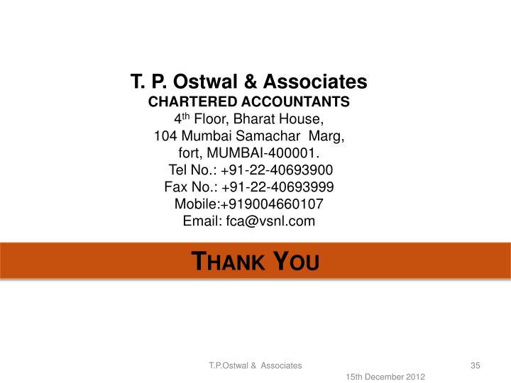 T. P. Ostwal & Associates