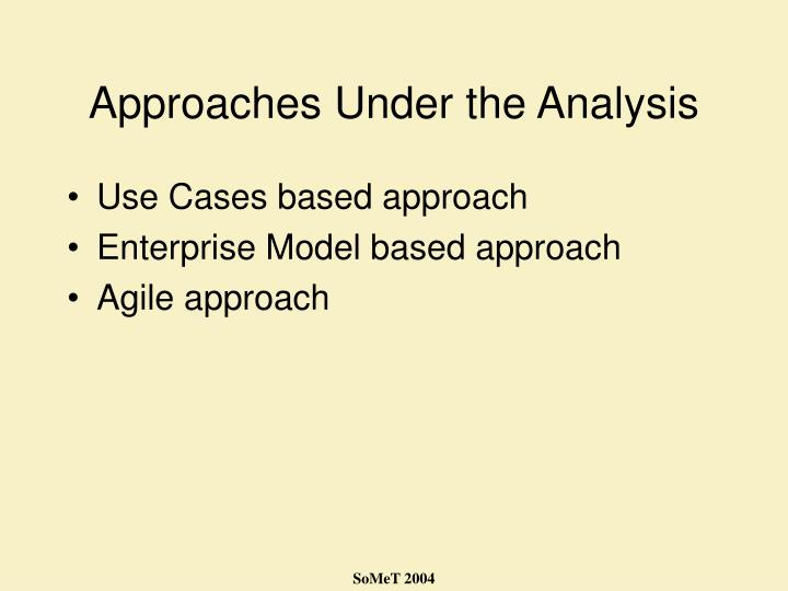 Approaches Under the Analysis
