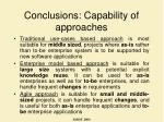 conclusions capability of approaches