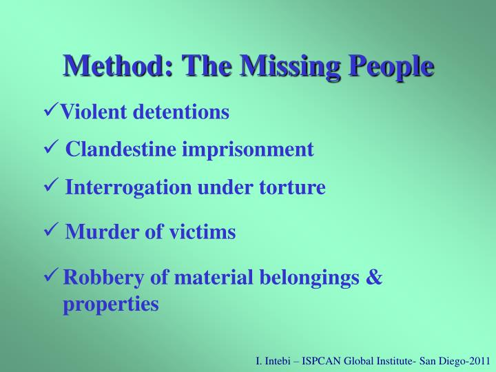 Method: The Missing People