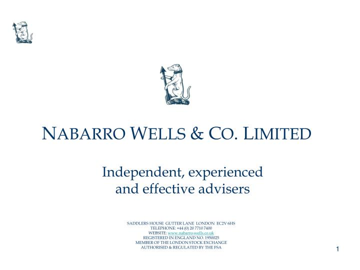 independent experienced and effective advisers