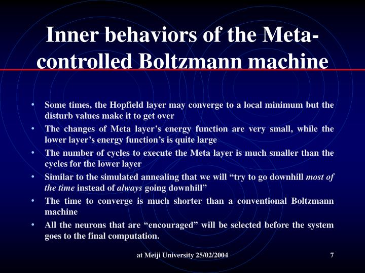 Inner behaviors of the Meta-controlled Boltzmann machine
