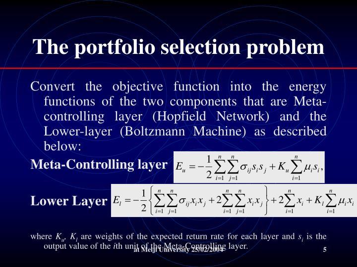 The portfolio selection problem