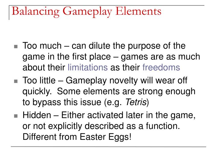Balancing Gameplay Elements