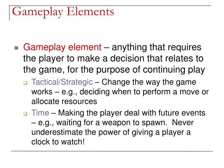 Gameplay elements1