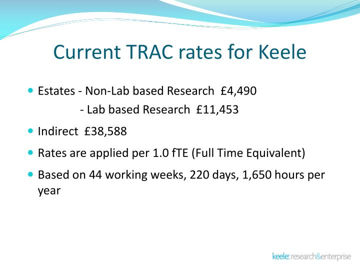 Current TRAC rates for Keele