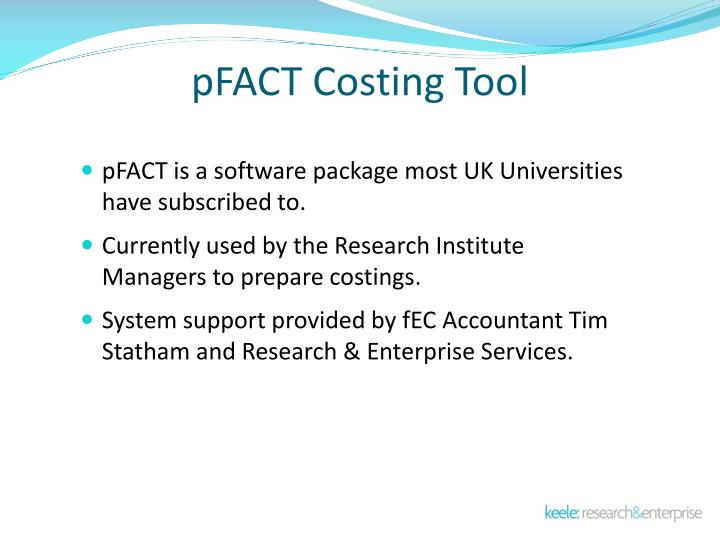 pFACT Costing Tool