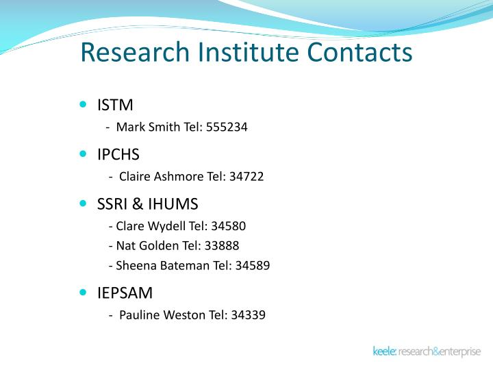 Research Institute Contacts