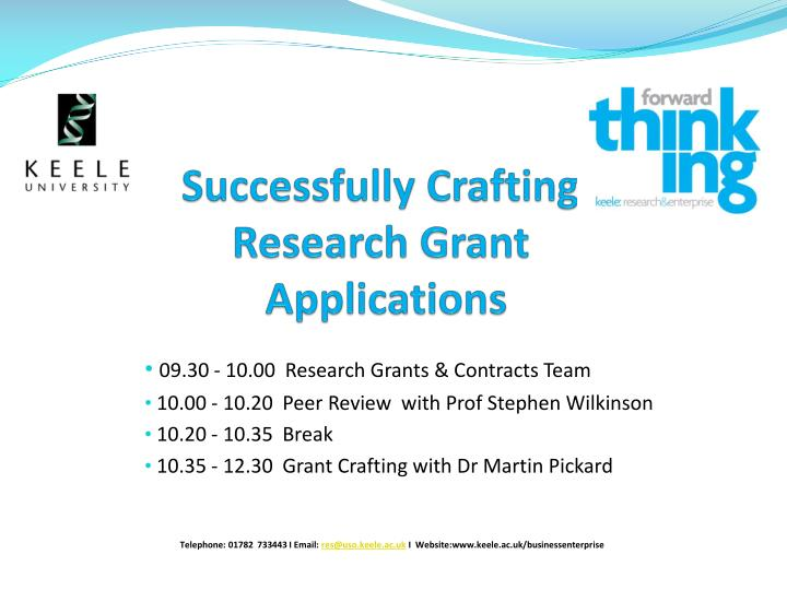 Successfully crafting research grant applications