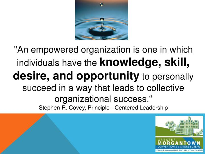 """An empowered organization is one in which individuals have the"
