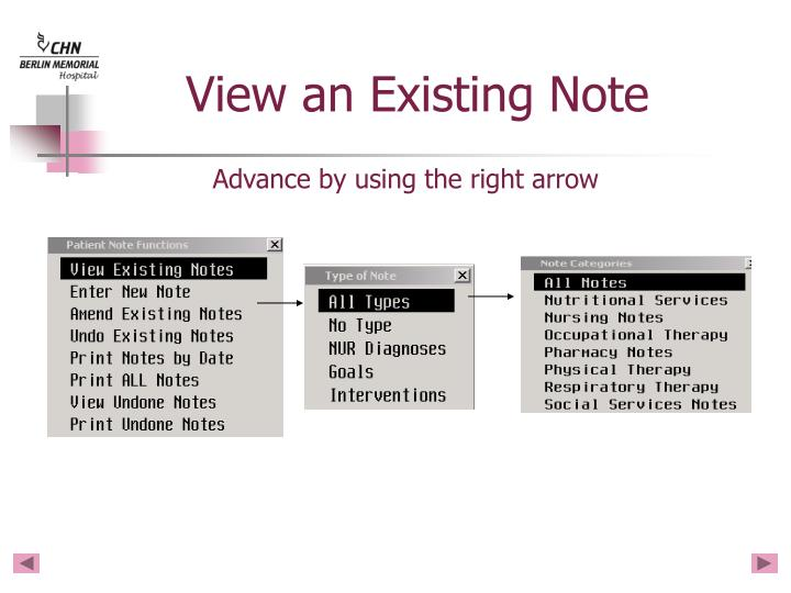 View an Existing Note
