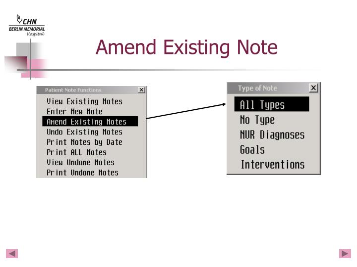 Amend Existing Note