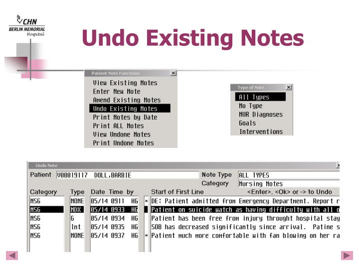 Undo Existing Notes