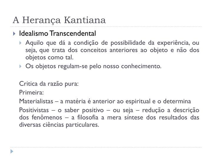 A Herança Kantiana