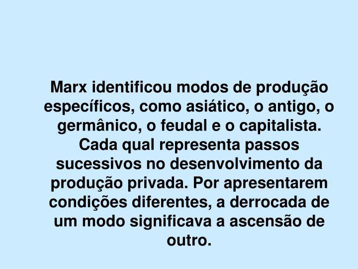 Marx identificou modos de produção específicos, como asiático, o antigo, o germânico, o feudal e o capitalista. Cada qual representa passos sucessivos no desenvolvimento da produção privada. Por apresentarem condições diferentes, a derrocada de um modo significava a ascensão de outro.