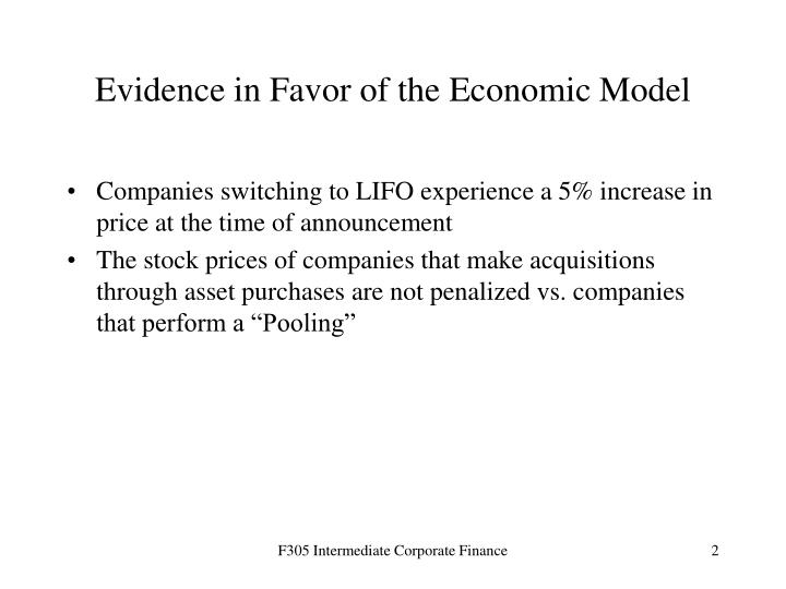 Evidence in Favor of the Economic Model
