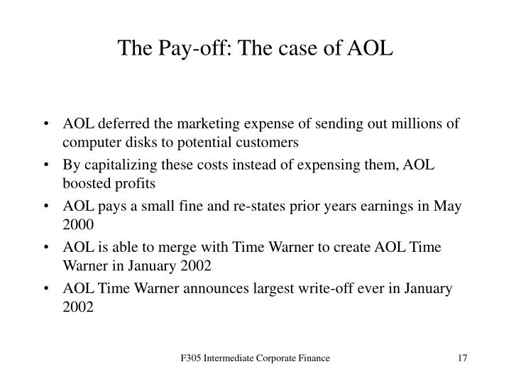 The Pay-off: The case of AOL