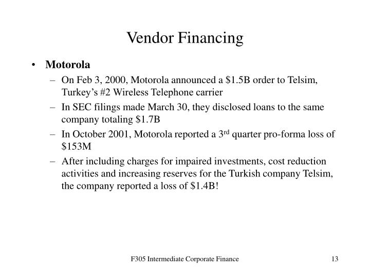 Vendor Financing