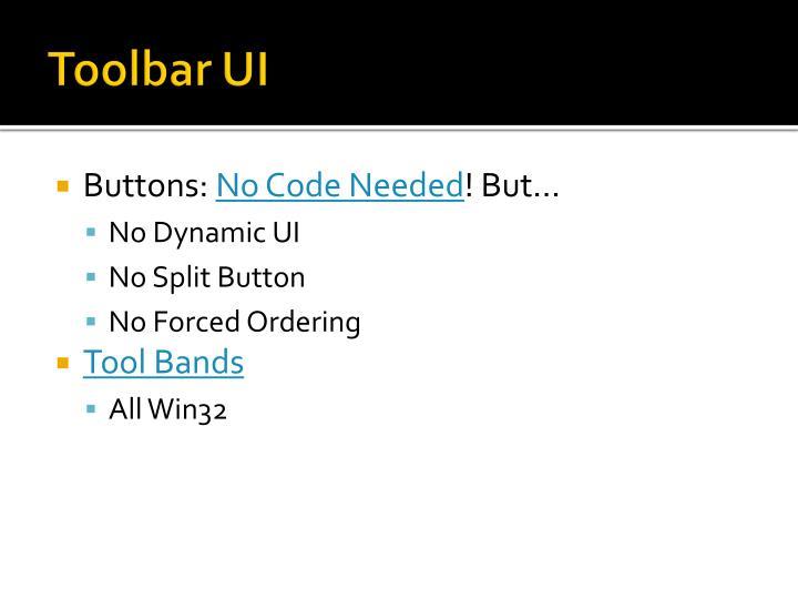 Toolbar UI