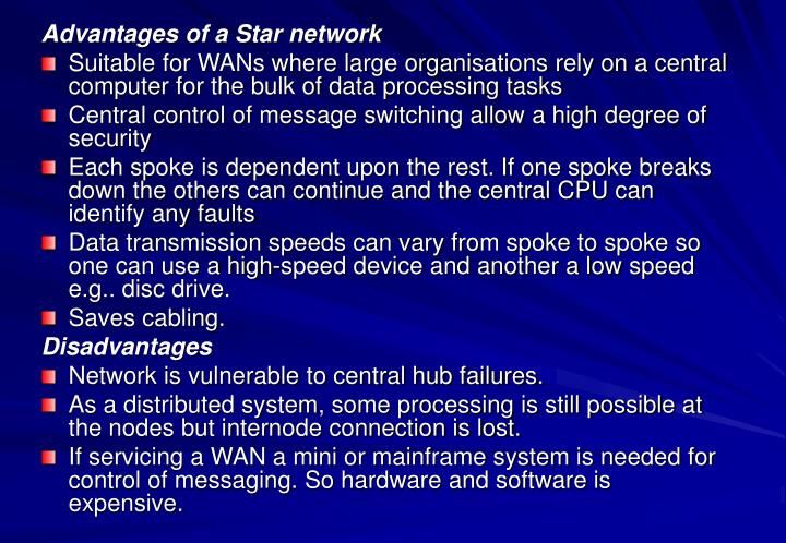 Advantages of a Star network