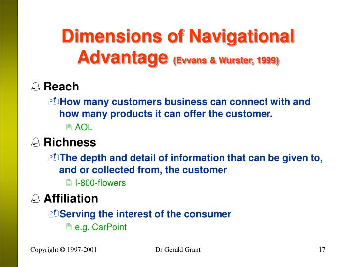 Dimensions of Navigational Advantage