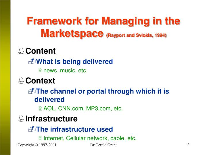 Framework for managing in the marketspace rayport and sviokla 1994
