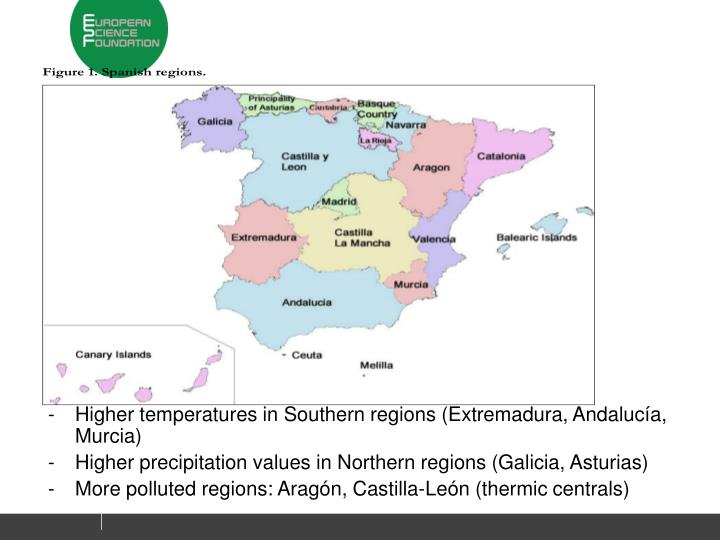 Higher temperatures in Southern regions (Extremadura, Andalucía, Murcia)