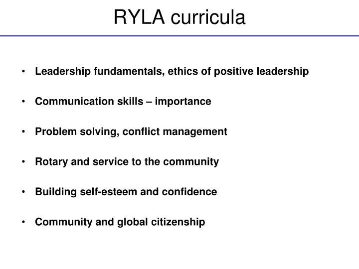 RYLA curricula