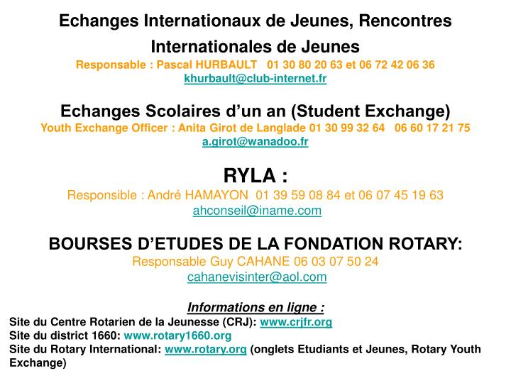 Echanges Internationaux de Jeunes, Rencontres Internationales de Jeunes