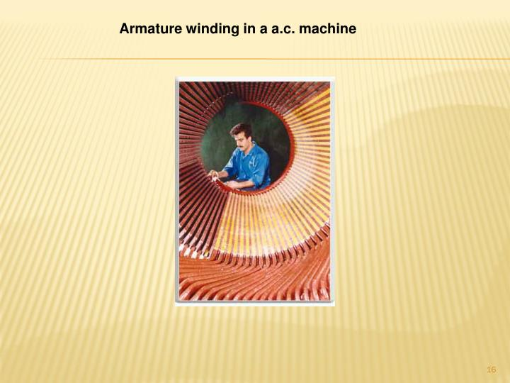 Armature winding in a a.c. machine