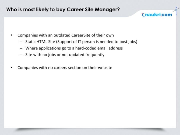 Who is most likely to buy career site manager