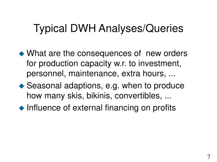 Typical DWH Analyses/Queries