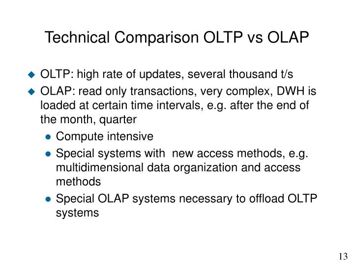 Technical Comparison OLTP vs OLAP