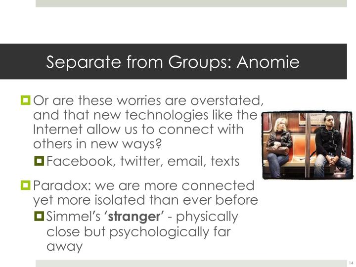 Separate from Groups: Anomie