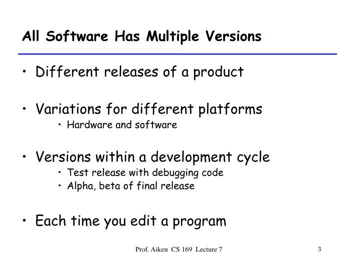 All Software Has Multiple Versions