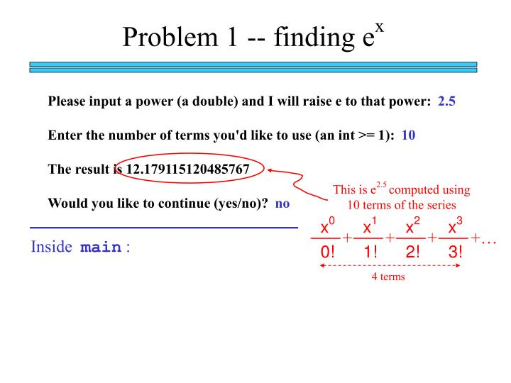 Problem 1 -- finding e