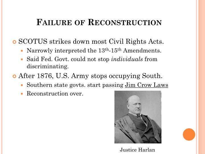 Failure of Reconstruction